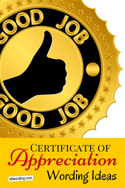 Certificate of Appreciation Wording AllWording – Certificate of Appreciation Wording Examples