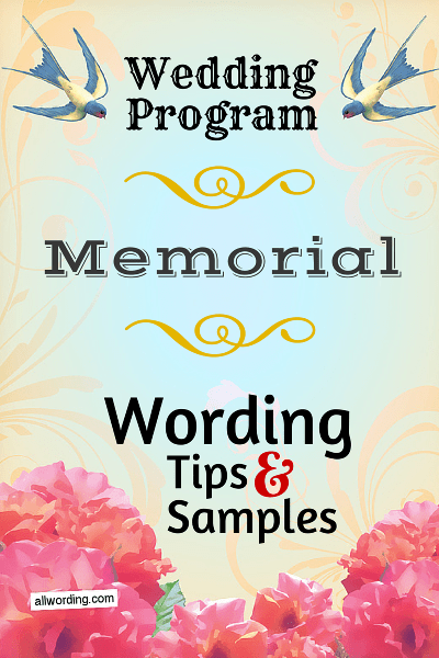 Wording Ideas For The Memorial In Memory Of Section A
