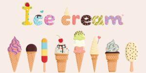 Line of ice cream cones of different types