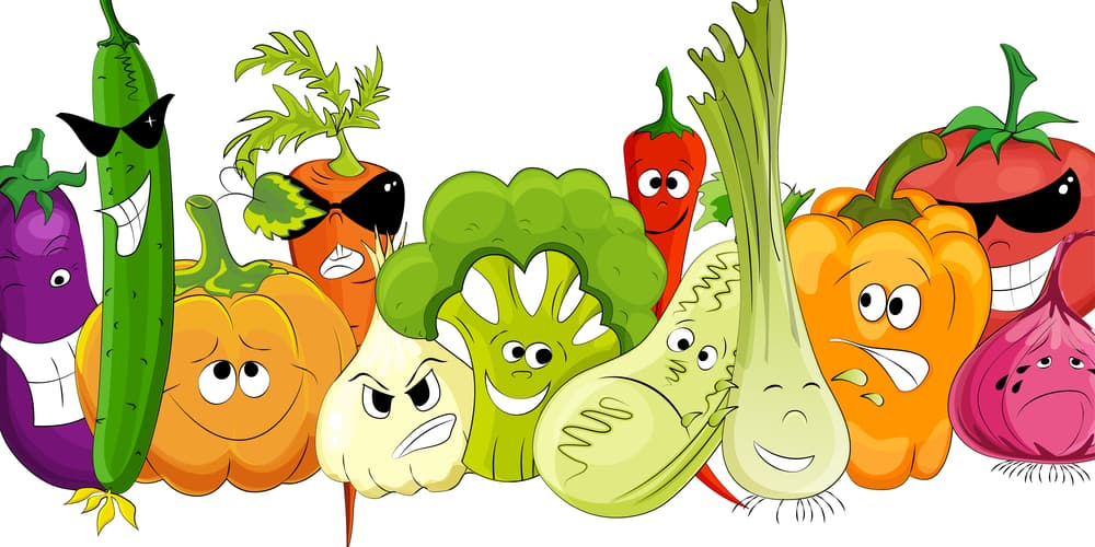 A lineup of funny vegetable cartoon characters
