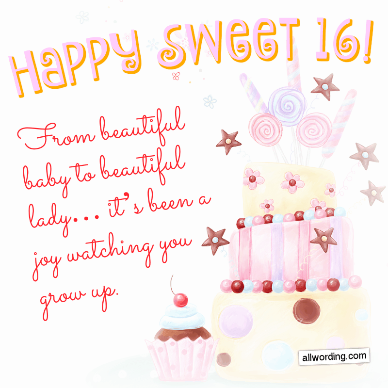 From beautiful baby to beautiful lady... it's been a joy watching you grow up. Happy Sweet 16!