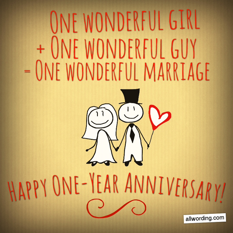 One wonderful girl + one wonderful guy = one wonderful marriage. Happy One-Year Anniversary, you two!